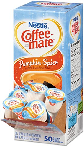 Pumpkin Spice, Coffee-mate Liquid Coffee Creamer 50 CT Single Serving Tubs - Seasonal Flavor