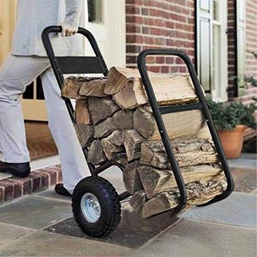 go2buy Indoor/Outdoor Firewood Log Carrier Fireplace Wood Rack Dolly Rolling Fire Storage Cart, 27.95 x 19.29 x 42.91'' (LxWxH), Black (Indoor Log)