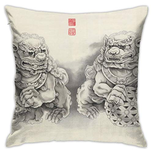 (Tastedecor Fu Dogs Stone Lions Chinese Ink Guardian Symbol Throw Pillow Cases For Couch Decorative Square Cushion Covers Soft Modern Home Decor 18