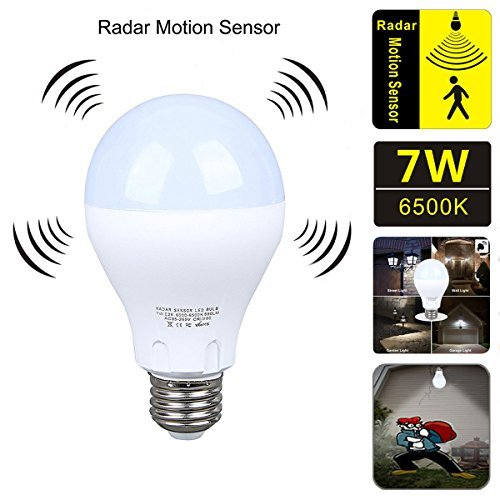 Motion Sensor Light Bulb?7W Smart Bulb Dusk to Dawn?E26 Base Indoor,Radar Motion Sensor Light Bulbs, White 6500K Outdoor Motion Sensor Bulbs Auto On/Off by aijiaer