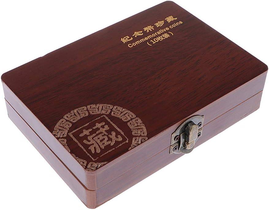 dailymall Caisse de Rangement en Bois Coffrets de Protection pour Pi/èces de Monnaie Coffret pour Collection de Pi/èces de Monnaie Comm/émorative