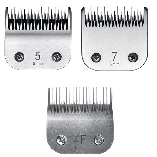 Miaco Size 4f, 5 & 7 Detachable Animal Clipper Blade Set fits Andis AG, AGC and Oster A5 by Miaco