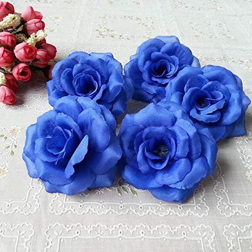 FidgetKute Wholesale Silk Roses 8cm Artificial Flower Heads Bulk for Wedding Arch Backdrops Royal Blue ()