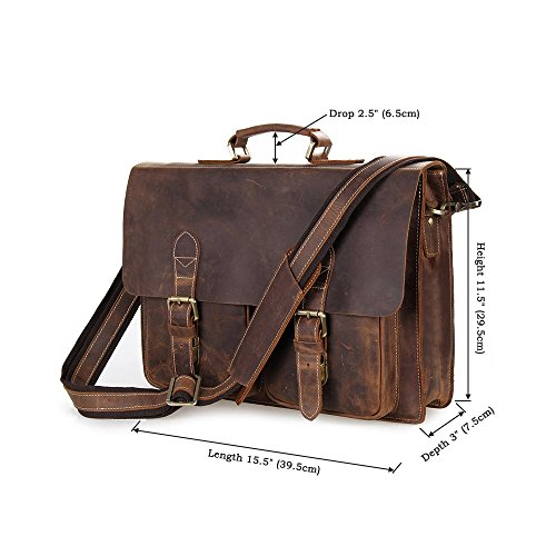 BAIGIO Handmade Briefcase Top Grain Leather Laptop Bag Messenger Shoulder Bag for Business Office 15 inch Macbook (Brown) by BAIGIO (Image #2)