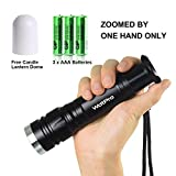 WdtPro LED Flashlight, Zoomed by Thumb Tactical Flashlights with 5 Light Modes, Tac Flashlight 1200 Lumen Ultra Bright, Battery Included Water Resistant Flashlight for Camping, Hiking, Hunting etc