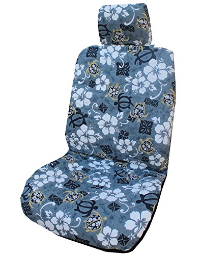 Winnie Fashion Set of 2 - Side Airbag Compatible; Hawaiian Gray Aloha Hibiscus Separate Headrest Car Seat Covers (Hibiscus Car Seat Cover)