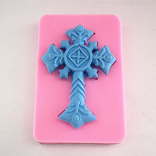 Longzang Cross Decoration Pattern Art Deco Silicone Mold Sugar Craft DIY Gumpaste Cake Decorating Clay Pink