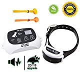UNM [2018 UPDATED] New LCD Display Wireless Pet Dog Electronic Fence Containment System Waterproof Rechargeable KD 661C All Size Dogs Receiver Beep/shock/static Mode, White