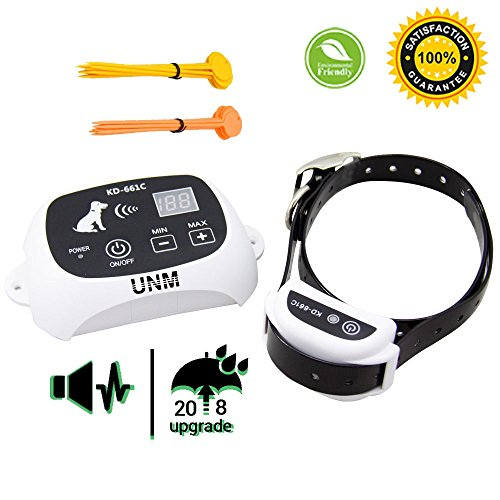 UNM [2018 UPDATED] New LCD Display Wireless Pet Dog Electronic Fence Containment System Waterproof Rechargeable KD 661C All Size Dogs Receiver Beep/shock/static Mode, (Wireless Electric Dog Fence)