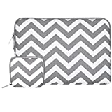 Mosiso Laptop Sleeve, Canvas Fabric Case Bag Cover for 12.9 iPad Pro / 13.3 Inch Notebook Computer / MacBook Air / MacBook Pro, Chevron Gray