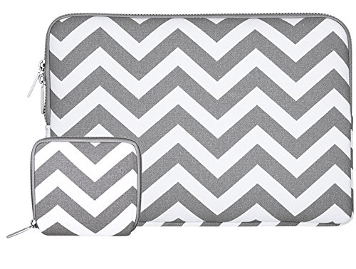 (MOSISO Laptop Sleeve Bag Compatible 13-13.3 Inch MacBook Pro, MacBook Air, Notebook with Small Case, Chevron Style Canvas Protective Carrying Case Cover, Gray)