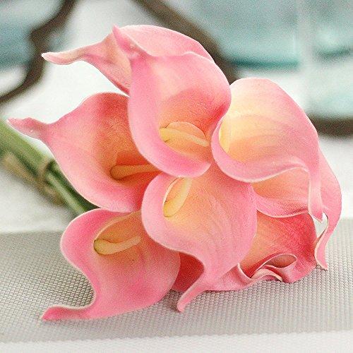Stem Calla Long Pink Lilies (Jpettie Artificial Flower Fake Flower 10 PCS Mini Calla Lily Bridal Wedding Bouquet for Bridal Bouquets Centerpieces Home Garden Party Wedding Decoration Christmas Decor,13.6 Inch (Soft Pink))