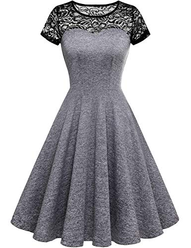 Yoyaker Women's 1950s Audrey Hepburn Rockabilly Vintage Dress Floral Lace Cocktail Swing Stretchy Dress Heather Grey XS