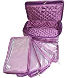 ATORAKUSHON Purple Fabric Jewlery Box with 5 Pouches