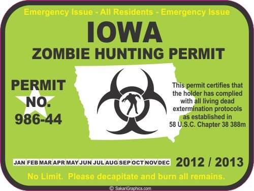 Iowa zombie hunting permit decal bumper sticker