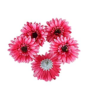 "Summer Flower Artificial Silk Chrysanthemum 4"" Gerberas Daisy Flower Head Sunflower for Wedding Home Party Decoration Hair Clip Wreath Decorative,Pack of 20(Hot Pink) 20"