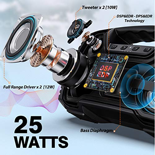 Portable Bluetooth Speaker, AOMAIS 40 Hrs Playtime Outdoor Waterproof Speakers with Lights, 25W Super Stereo Sound and… 2