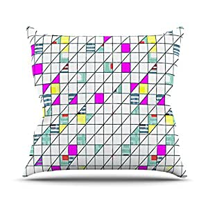 "Kess InHouse Michelle Drew ""Squares"" Abstract Geometry Outdoor Throw Pillow, 18"" x 18"""