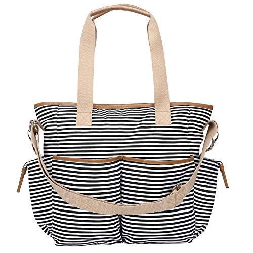 HDE Womens Striped Waxed Canvas Work Crossbody Tote Travel Overnight Messenger Bag ()
