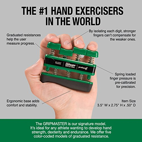 GRIP MASTER Gripmaster Hand Exerciser Green, XX-Light Tension (1.5-Pounds per Finger) by GRIP MASTER (Image #3)