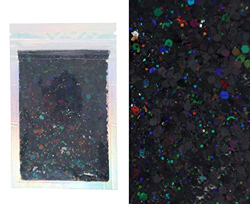 10 Grams - Black Holographic Chunky Glitter - Cosmetic Grade - Makeup Face Body Nail Festival Rave Beauty Craft