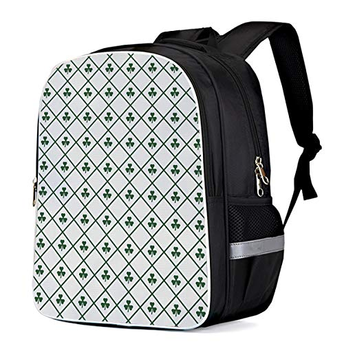 (Happy St. Patrick's Day Custom Students Backpack School Book Bags, Durable Laptop Computer Bag, Casual Daypack Travel Backpacks, Vintage Checker Plaid Tile Clover Leaf)
