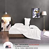 THXSILK 19 Momme Silk Duvet Cover Set 4 Piece, Silk Sheets, Luxury Bedding Sets - Ultra Soft, Machine Washable, Durable - 100% Top Grade Mulberry Silk, King Size, White