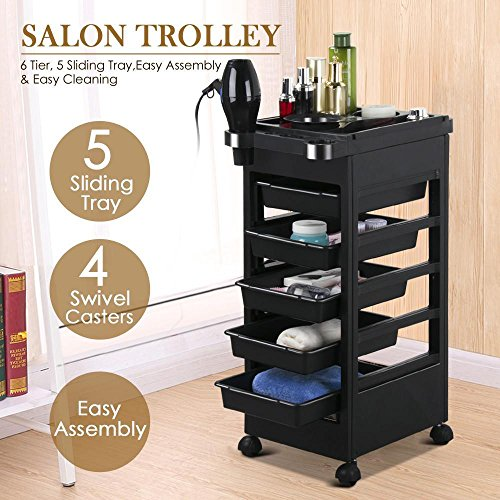 Topeakmart Rolling Salon Trolley Cart Hairdressing Storage Hair Tray Dryer Holder