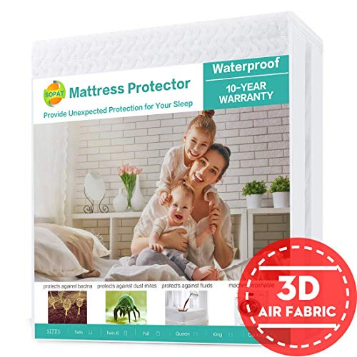 King Size Mattress Protector - SOPAT King Mattress Protector 100% Waterproof Mattress Pad Cover,3D Air Fabric,Breathable Smooth Soft Cover