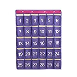 SAVORLIVING Cell Phone Hanging Organizers Classroom Pocket Chart Wall Door Closet Hanging Organizer with Hooks Durable Storage Bag Organizer,2 Size - 30 Pockets & 48 Pockets (Small, Purple)