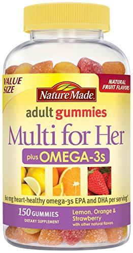Nature Made Multi for Her + Omega-3 Adult Gummies w. 60 mg of EPA and DHA Omega 3 Value Size 150 Ct