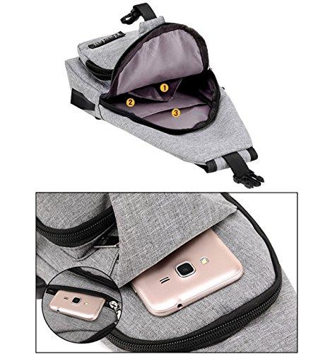auriculares para Blue1 con de puerto con USB bolsa orificio de ligero para carga Small peso de de deporte transporte multibolsillos y mujer Grey1 hombre Bolsa hombre Niceeday 67SqxwZ7
