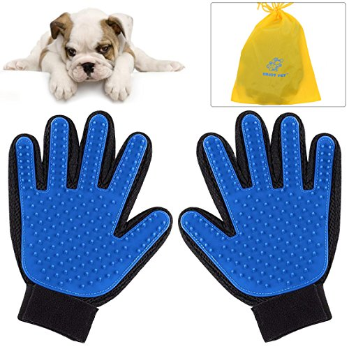 Pet Hair Remover Glove for Dog, ENJOY PET Grooming Gloves Brush, Cat Shedding Glove, Gentle and Efficient Hair Groomer, Pet Grooming Mitt De-shedding Massaging Tool Dog/Cat/Horse Combs (One Pair)