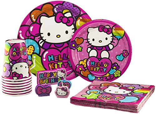 (Hello Kitty Tableware Pack! Disposable Paper Plates, Napkins, Cups and Candles (Set for 16))