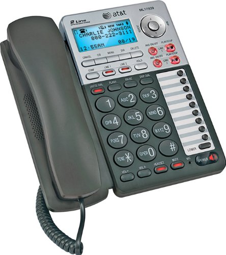 Corded Speakerphone Caller Id (AT&T - 2-Line Speakerphone with Caller ID and Digital Answering System)