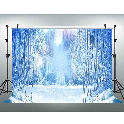 VVM 7x5ft Winter Frozen Photography Backdrop White World Wonderland Theme Princess Party Backdrop Christmas Studio Props GYVV733]()