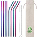 VEHHE Metal Straws Stainless Steel Straws 8 Set Reusable Drinking Rainbow Straws with Cleaning Brush for 20 OZ Tumblers(4 Straight + 4 Bent + 2 Brush)