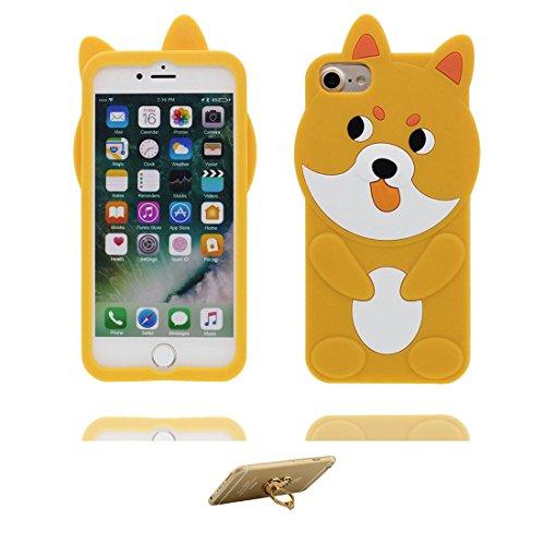 iPhone 7 Plus(5,5 pouces) Coque Cover TPU Flexible-3D Cartoon Chiot jaune, iPhone 7 Plus Étui iPhone 7 Plus Case Shock Poof Chien jaune Dog Cute & ring Support
