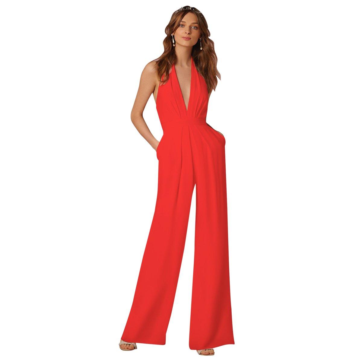 cce703e3e756 Amazon.com  IBTOM CASTLE Women s Sexy High Waisted Jumpsuits V-NeckHalter  Wide Leg Long Pants Wedding Rompers Overalls Pockets  Clothing