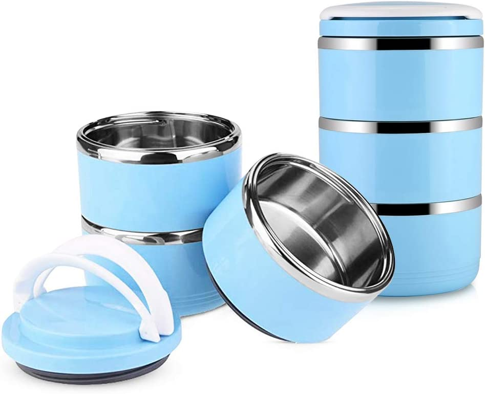 3 Layers Pet Travel Bowl, Stainless Steel Pet Food Water Bowl, No Spill Dog Cat Pet Bento Bowls, Water Food Storage Container with Handles for Dog Cat Outdoor Traveling