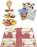 Hape E3135/3136 10pc Dessert Tower and 21pc Picnic Lunch Time Play Sets with Coloring Book
