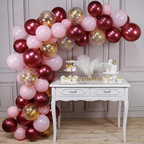 PartyWoo Pink Gold and Burgundy Balloons, 70 pcs Burgundy Balloons, Baby Pink Balloons, Gold Confetti Balloons for Burgundy Bridal Shower, Burgundy and Gold Party Decorations, Burgundy Wedding Decors
