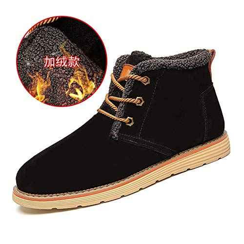 (Hilotu Men's Fashion Leisure Warm Ankle Boots Casual Classic Lacing Up High Top Boot Durable (Color : Warm Black, Size : 8.5 D(M))