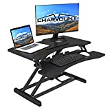 Charmount Height Adjustable Standing Desk Sit to Stand Gas Spring Riser Converter | 32'' Wide Tabletop Workstation fits Dual Monitors