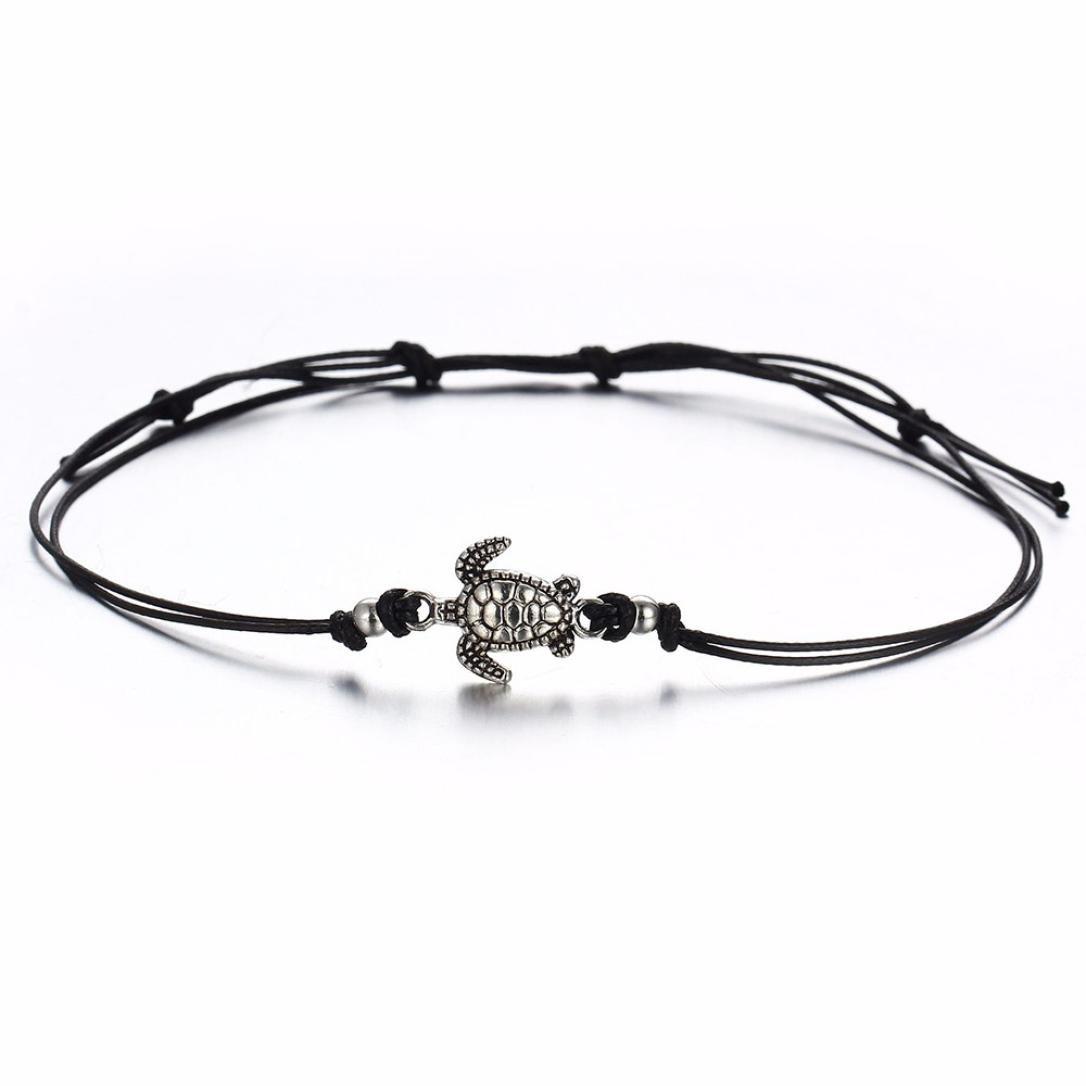 3PCS Natural Sea Turtle Foot  Anklets Chain Cord Bracelet Boho Hippy Surf Bangle