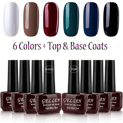 - Gellen Gel Nail Polish Kit 6 Colors + Base Coat Top Coat Age of Elegence 6 Colors Mixed, 8ml Bottle Gel Manicure Set