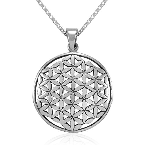 MIMI Sterling Silver Flower of Life Kabbalah 27 mm Round Pendant Necklace, 18 inches ()