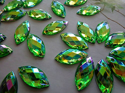 Sew on Rhinestones Green AB Colour Stones Acrylic Crystal 7X15mm Navette Shape Flatback Strass Diamond Gemstone 300pcs by Zbroh