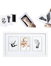 LawUza Juego de Almohadillas de Tinta para Huellas de bebé Recién Nacido, con 2 Tarjetas Blancas no Tóxicas, Color Negro