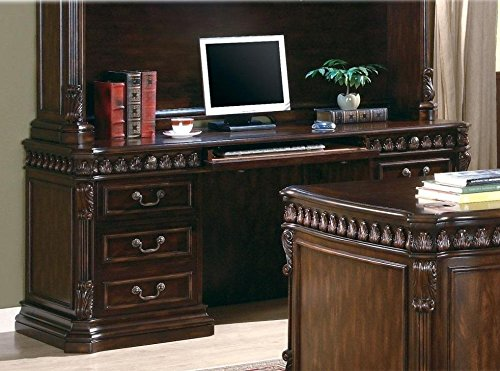 Fluted Cherry Pedestal - Tucker Double Pedestal Credenza Desk Rich Brown